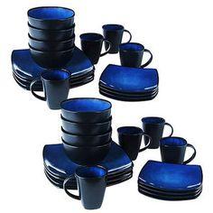 Soho Lounge Square 32-Piece Dinnerware Set Blue  sc 1 st  Pinterest & Room Essentials 16 Piece Dinnerware Set microwave and dishwasher ...