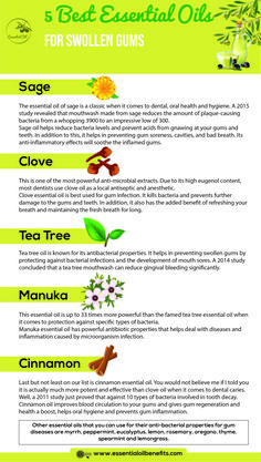 For Gum Infection, Sore And Swollen Gums Best Essential Oils For Gum Infection, Sore And Swollen Gums Essential Oil BenefitsBest Essential Oils For Gum Infection, Sore And Swollen Gums Essential Oil Benefits Sage Essential Oil, Doterra Essential Oils, Essential Oil Blends, Gum Health, Oral Health, Teeth Health, Dental Health, Health Tips, Gum Inflammation