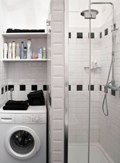 Washing machine niche prefabricated shower stall small bathroom ideas