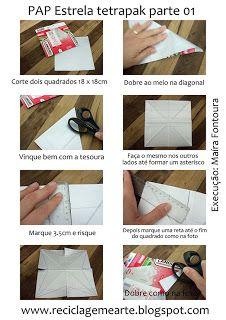 Reciclagem e Arte | Artesanato Sustentável por ´Maíra Fontoura: Decoração Reciclada! PAP Estrela Tetrapak!