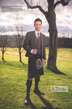 Groom wearing kilt and tweed jacket for UK wedding blog article for Phillip king Aberdeen