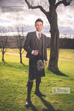 Groom wearing kilt and tweed jacket for UK wedding blog article for Phillip king Aberdeen