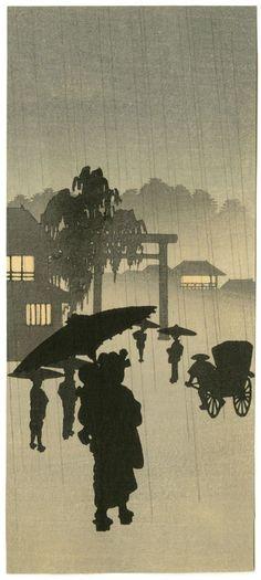 Shoda Koho Japanese Woodblock Print. Mom and Baby in Rain 1910s