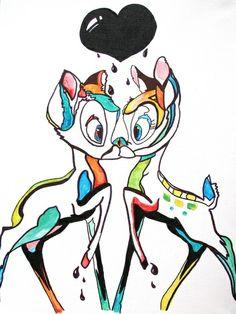 bambi en deux fig symétrik, en style aquarelle avec coueur, et couleurs réparties pas réalist mais artistik, bon visu ac bleus etc