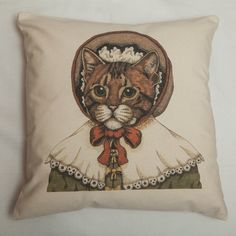 Exclusive Illustrated Tabby Cat Portrait Cushion by Amber Anderson for Kitty Greenway