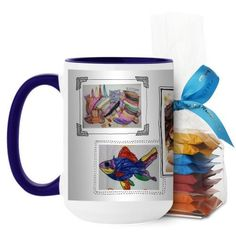Pictures For Grandma Mug, Blue, with Ghirardelli Minis, 15 oz, White