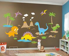 HUGE Set Dino Dinosaurs Baby Nursery Kids Playroom By Styleywalls, $210.00 Part 50