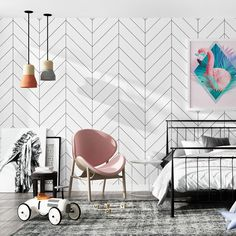 decoration maison Nordic Black White Stripes Wall papers home decor Minimalist Ins Geometric Wallpaper for Living Room bedroom Geometric Stripe Wallpaper, Herringbone Wallpaper, Herringbone Pattern, Stripe Pattern, Living Room Modern, Living Room Bedroom, Bedroom Decor, Wall Decor, Diy Wall