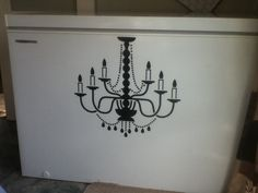 Glam up a chest freezer - put a vinyl sticker on it. This was meant for the wall but worked just as good onto the freezer! Home Decor