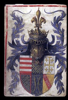 Barthélemy d'Eyck Coat of Arms of René d'Anjou, King of Naples (Book of Hours (The Hours of René d'Anjou) British Library Medieval World, Medieval Art, Medieval Manuscript, Illuminated Manuscript, British Library, Templer, Book Of Hours, Knights Templar, Family Crest
