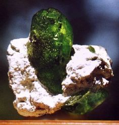 Fully terminated and super gemmy Peridot crystal on white matrix! From Soppat, Kohistan Province, Pakistan.