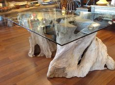Natural Rustic Teak Root  Wood Large Center Table  #Handmade #RusticPrimitive