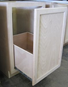 "Kitchen Cabinet Base 21"" with Trash Can Pull Out in Unfinished Oak"