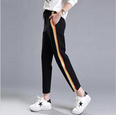 2017 Side Rainbow Striped Harem Pants Women Drawing Waist Sweatpants  Joggers Women Black Casual Pants Trousers Women Plus Size 812f7eabdfa