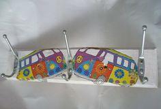 """Hakenleisten - ღ Garderobenleiste """"Hippie Bus"""" ღ - ein Designerstück von Feenstaub02 bei DaWanda"""