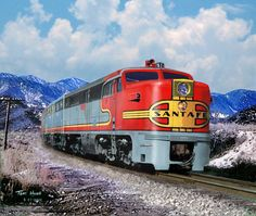 An A-B-A set of Alco PA's lead a Santa Fe passenger train near California's Cajon Pass in 1952.