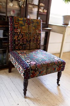 Gorgeous tapestry chair in John Derian's New York City apartment