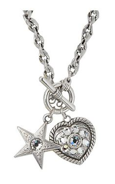 M Western Products® Antique Silver Star, Heart, Pearl Charm Necklace | Cavender's Boot City