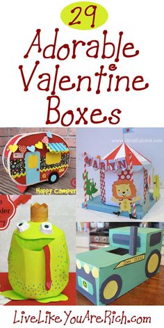 I saw many awesome Valentine's Boxes online. Many are just as cute as they are creative. I've gathered up 29 to spark your Valentine-Box-Creativity. Enjoy.