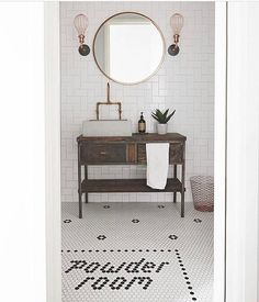 33 trendy Ideas for bath room wallpaper modern pedestal sink Metro Tiles Bathroom, Bathroom Sink Units, Bathroom Ideas, Cloakroom Ideas, Family Bathroom, Master Bathroom, Rustic Powder Room, Powder Room Decor, Powder Rooms