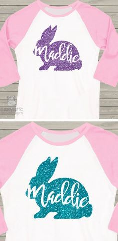 Such a cute idea for an Easter outfit! Easter shirt girl sparkly glitter bunny personalized raglan Tshirt - pick your glitter colors for the easter bunny  #easter #ad