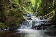 How to find the Devil's Pulpit, Finnich Glen in Scotland, including where to park, how to get down to the gorge, why it's called the Devil's Pulpit, and photography tips for getting great photos of the Finnich Glen