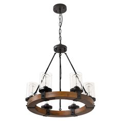 6-Light Farmhouse Wood Kitchen Island, Wood Chandeliers, Candle Pendant Light, Clear Glass Lodge and Tavern Pendant Lighting 360W Max (Bulb Not Included)