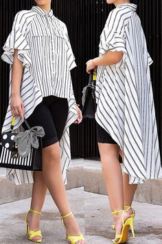 Details: Material: Polyester Style: Casual Pattern Type: Striped Sleeve Style: Hubble-bubble sleeve Sleeve Length: Three Quarter Neckline: Turndown Collar SIZE(IN) US Bust Top Length S M L XL Mode Outfits, Chic Outfits, Fashion Outfits, Womens Fashion, Dress Fashion, African Fashion Dresses, Blouse Dress, Casual Tops, Casual Styles