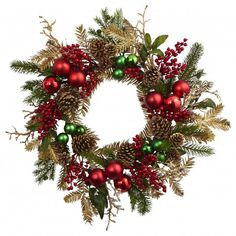 24 inch Christmas Ornament Pine and Pine cone Wreath 4556 Nearly Natural Deck the halls with a seasonal holiday wreath that showcases glimmering ornaments and a mix of decorative gold and green pine leaves.
