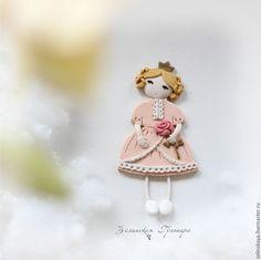 Купить Принцесса. Брошь - кремовый, однотонный, розовый, персиковый, принцесса, брошь принцесса, подарок девочке