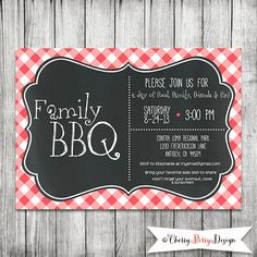 Family BBQ Invite 5X7 PRINTABLE by CherryBerryDesign on Etsy
