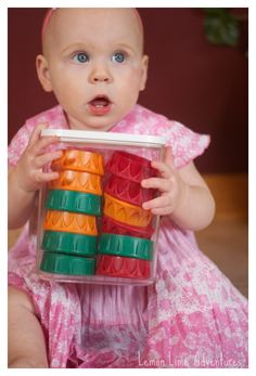 3 Games with Recycled Plastic Lids for Babies... So much fun!