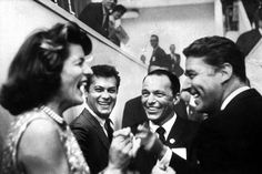 Rat Pack members Frank Sinatra and Peter Lawford with Lawford's wife, Pat Kennedy Lawford, and actor Tony Curtis in Los Angeles at the Democratic Convention, Humphrey Bogart, Dean Martin, Patricia Kennedy, Joey Bishop, Peter Lawford, Sammy Davis Jr, Jane Russell, Intimate Photos, Tony Curtis