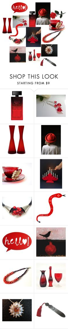 """Red & Black"" by anna-recycle ❤ liked on Polyvore featuring Elizabeth Arden, Avon, modern, rustic and vintage"