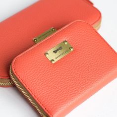 VICKY coral leather wallet