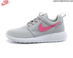 Sale Cheap Womens Nike Roshe Run Light Gray Pink Shoes Sports Shoes Store
