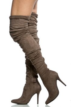 0f788280484a Taupe Faux Suede Pointed Toe Thigh High Boots   Cicihot Boots  Catalog women s winter boots