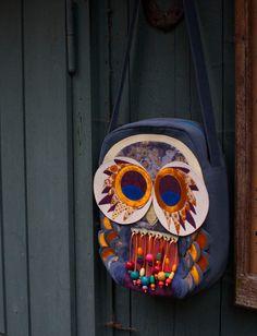 owl artist shoulder bag by PushaLaura on Etsy