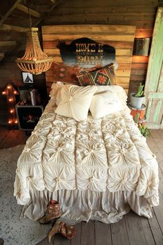 bordertown bedding - lazybones comforter, kilim pillows, tattered flax dust ruffle . . all avail at gypsyville.com {junk gypsy co.}
