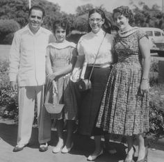Modesto Ada Rey and wife Alma Lafuente Salvador with daughter Florecita Ada Lafuente at the Camaguey airport, receiving Alma Flor Ada who was returning from a year of college at Loretto Heights, Denver, CO Salvador, Denver, My Life, Daughter, College, In This Moment, Couple Photos, People, Dual Language