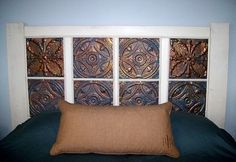 Headboard with Tin Tiles | Headboard made from old tin tiles. I'm happy with how it turned out!