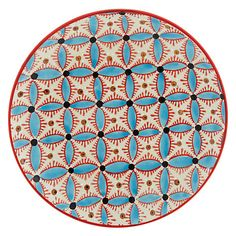 Add some Arabic-inspired patterns to your outdoor dining experience with this vibrant porcelain plate.