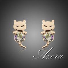 AZORA Lovely Mouselet Crystal Stud Earrings