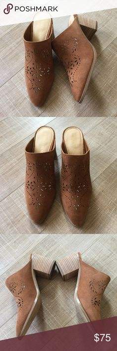 """Ivanka Trump 'Dorth' Laser-Cut Suede Mules Sz 7.5 Ivanka Trump 'Dorth' Laser-Cut Brown Suede Mules, Sz 7.5. Block heel about 2.5"""". Overall excellent condition, there are a few marks on the block heel as shown. Only worn a few times. Super cute! No trades or requests for modeling, please. Doesn't come with box. Thank you! Ivanka Trump Shoes Mules & Clogs"""