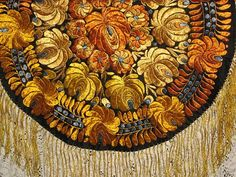 Vintage Hungarian Matyo Hand Made Round Tablecloth w/Fringe-Rusty Orange, Goldish Yellow & French Blue Flowers: Removed Hungarian Embroidery, Folk Embroidery, Learn Embroidery, Chain Stitch Embroidery, Embroidery Stitches, Embroidery Patterns, Stitch Head, Last Stitch, Round Tablecloth