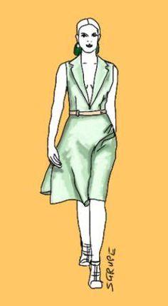 Oben eng mit tiefem V-Ausschnitt, unten weit mit einem A-Linien-Rock: So bekommt auch die androgyne Frau eine Sanduhr-Figur.
