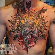 How rad is this psycho bunny? #InkedMagazine #chest #rabbit #inked #Inked #art #tattoo #tattoos