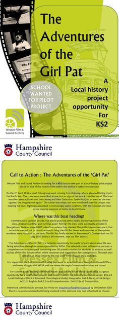 The Adventures of the Girl Pat: An exciting opportunity for a Hampshire school to take part in a local history project. For more information, or to apply contact enquiries. Small Fishing Boats, History Projects, Call To Action, Local History, Hampshire, Opportunity, How To Apply, Adventure, School