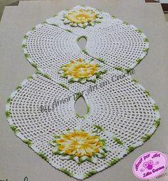 Caminho de Mesa de Crochê em Formato de Oito-Amor por Art em Crochê