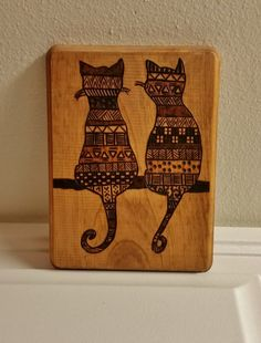 Cats // Wood Burned Plaque by BrennenCo on Etsy